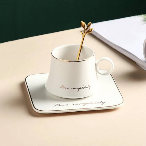 Round handle gold rim ceramic latte coffee cup with square saucer - MarkeetEx