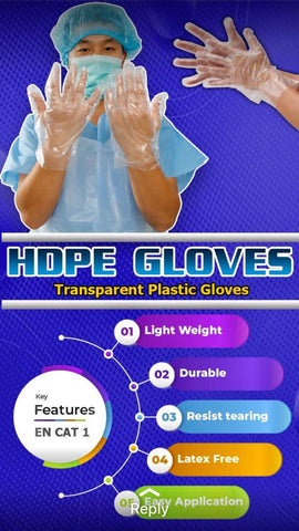 HDPE disposable hand gloves – 100 piece in a pack (L) - MarkeetEx