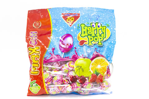 Happy pop assorted flavor lollipops 50 pcs - MarkeetEx