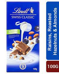 Lindt Swiss Classic - Swiss Milk Chocolate with Raisins ,Rosted Hazelnuts & Almonds 100gm - MarkeetEx