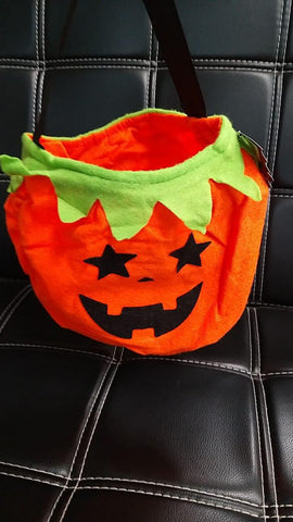 Halloween 3D Felt Bag, Round, Pumpkin, Orange & Green - MarkeetEx