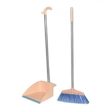 STAINLESS STEEL Broom and Dustpan with Self Cleaning Bristles