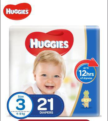 Baby Huggies Stage 3-21 Diapers - 4-9Kg