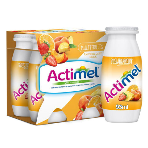 Actimel Multifruits - Flavored Low Fat Dairy Drink - 93ml X 4pcs Pack - MarkeetEx