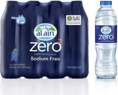 Al Ain Zero Bottled Drinking Water Sodium Free 500ml X 12pcs Pack - MarkeetEx