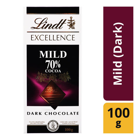 Lindt Excellence Mild Dark Chocolate 70% Cocoa 100gm - MarkeetEx