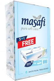 Masafi White Facial Tissue Boxes - Pack of 6 Boxes (6 x 150 Sheets x 2 ply)