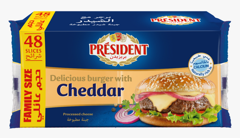 President Cheese Cheddar Slice - 48 Slices - Family Size - 800gm
