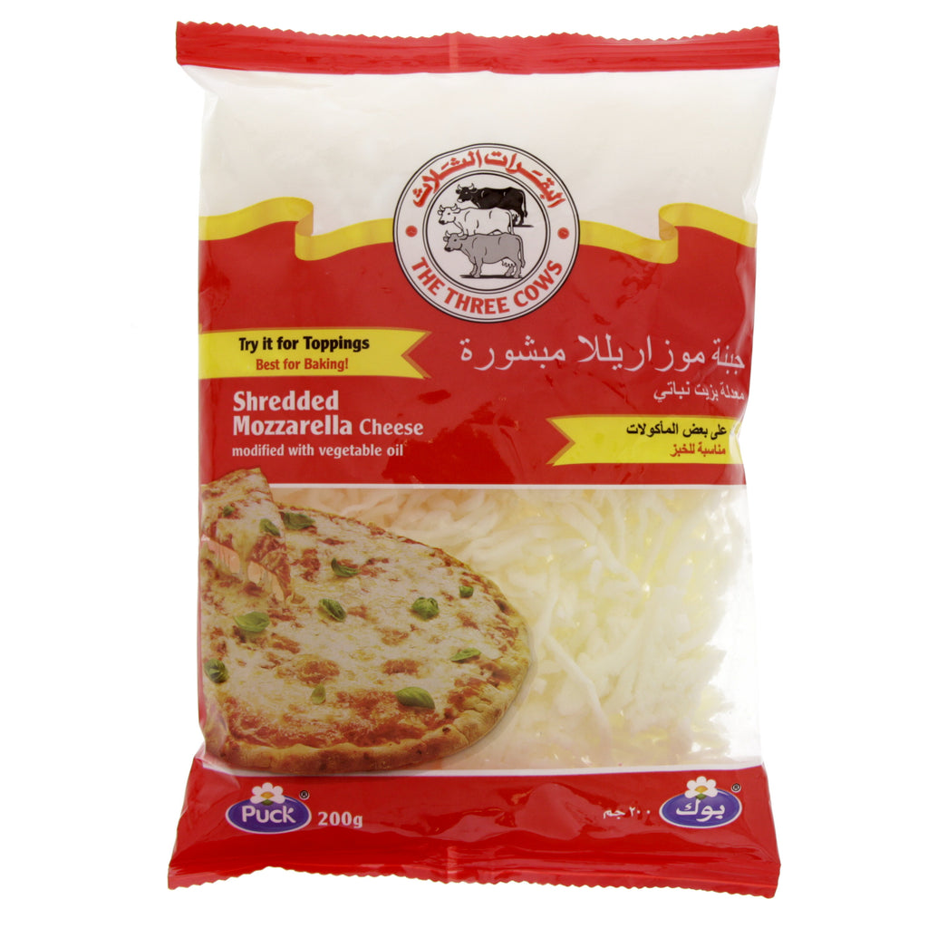 Cheese Shredded Mozzarella Three Cows 200GM - MarkeetEx
