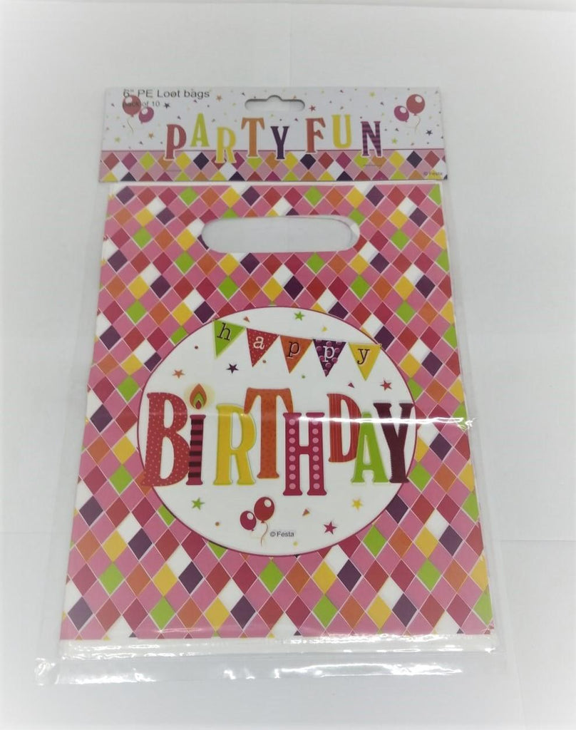 "Happy Birthday Party Loot Bags 6"" - Pack of 10 - MarkeetEx"