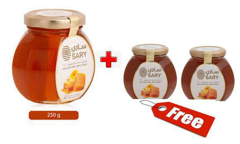 SARY 100% Natural Bee Honey 500gm + (2X125gm) Free