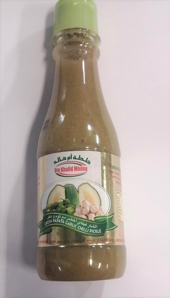 UM KHALID MIXING - GREEN PAPAYA GARLIC CHILLI PICKLE 250-GM - MarkeetEx