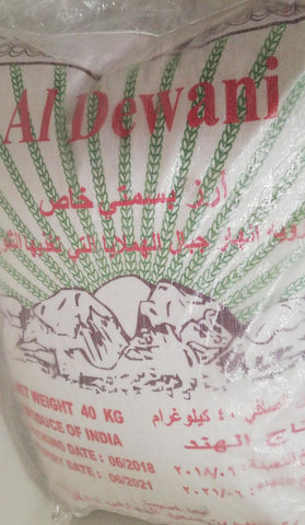 Al Dewani Basmati Rice 40kg Bag
