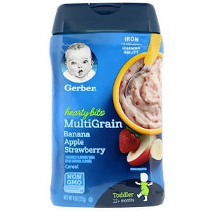 Gerber, Hearty Bits, MultiGrain Cereal, Toddler, 12+ Months, Banana, Apple, Strawberry, 8 oz (227 g) - MarkeetEx