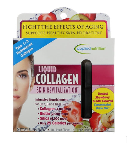 APPLIEDNUTRITION, Liquid Collagen Skin Revitalization Tropical Strawberry & Kiwi Flavored 10 Liquid-Tubes, 10 ml Each - MarkeetEx