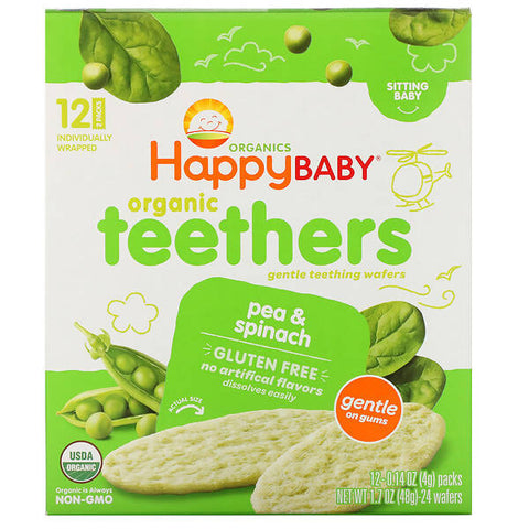 Happy Family Organics, Organic Teethers , Gentle Teething Wafers, Sitting Baby, Pea & Spinach, 12 Packs, 0.14 oz (4 g) Each - MarkeetEx