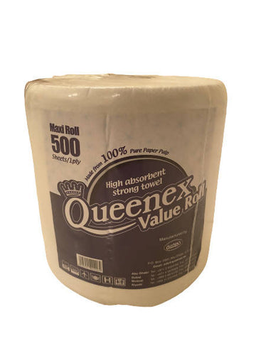 Queenex tissue roll (500 Sheets/ 1 ply)