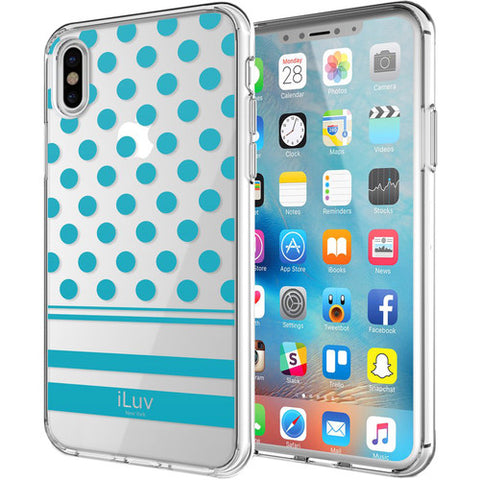 iLuv DotStyle Case for iPhone X/Xs (Blue) - AIXDOTBL
