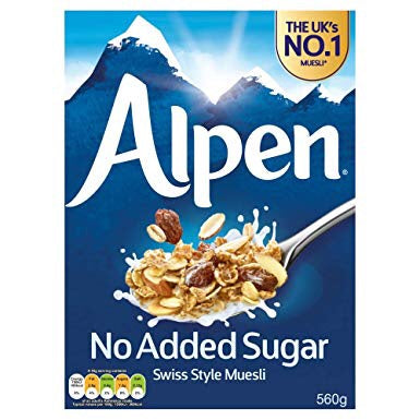 No Added Sugar Alpen Swiss Style Muesli 560gm - ألبن ميوسيلي من دون سكر