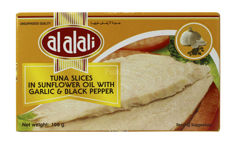 AlAlAli Tuna Slices In Sunflower Oil, with Garlic & Black Pepper , 100g - MarkeetEx