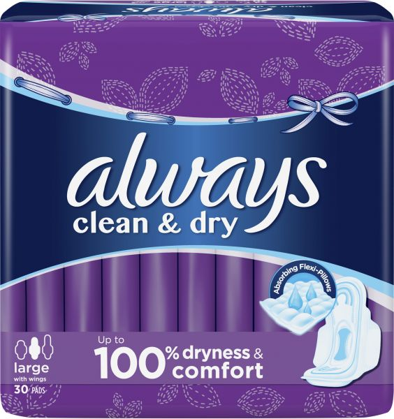ALWAYS Clean & Dry with Wings Large Sanitary Pads, 30 Pads