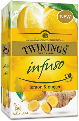 TWININGS OF LONDON INFUSO LEMON & GINGER 20 TEA BAGS PACK