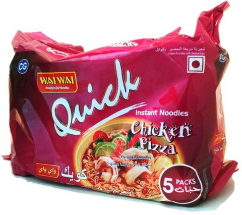 WAI WAI QUICK INSTANT NOODLES CHICKEN PIZZA 75GMS×5PCS PACK