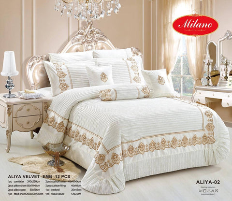 Turkish design Winter Comforter Aliya Velvet (12pcs) طقم تركي شتوي مخمل وقطن - MarkeetEx