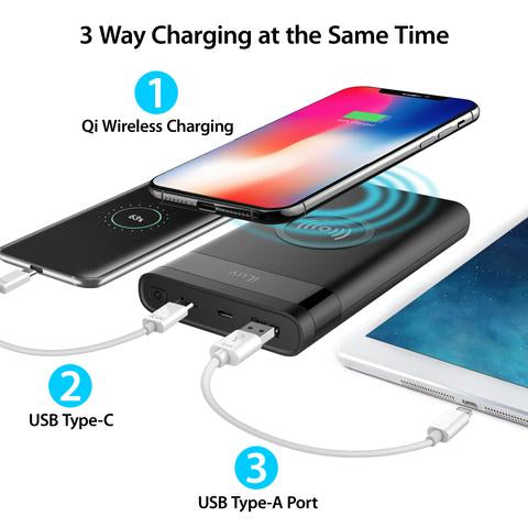 iLuv myPower10Q 10000mAh Battery Pack and Qi Wireless Charger - MYPOWER10QBK