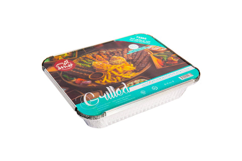 ATHAR : Aluminium Foil Container with Safety Handle - Grilled - Economy - MarkeetEx