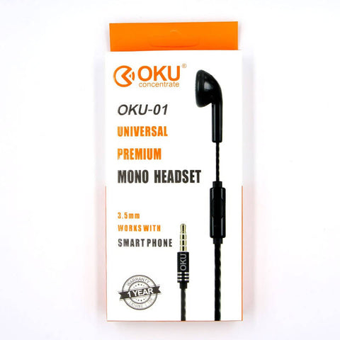 Oku Universal Mono Single Earphone 3.5MM