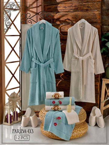 Fariba-03 - Free size Turkish cotton robe 12PCS set - MarkeetEx