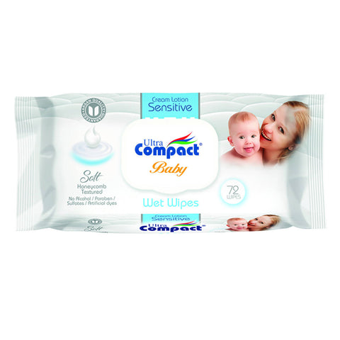BABY WET WIPES SENSITIVE CREAM LOTION 72 PCS مناديل مبللة للأطفال