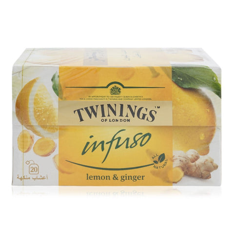TWININGS OF LONDON INFUSO LEMON & GINGER 20 TEA BAGS PACK - MarkeetEx