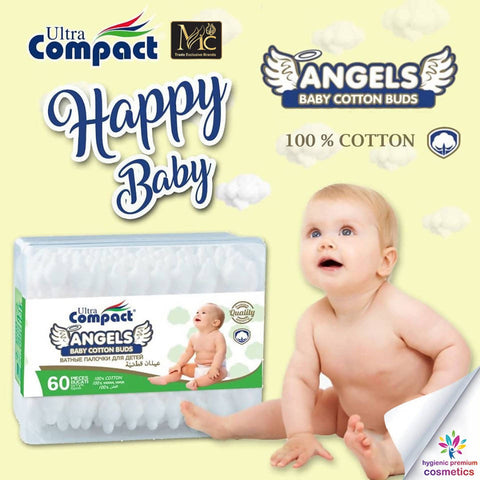 BABY ORGANIC COTTON BUDS 60 PCS عيدان قطنية