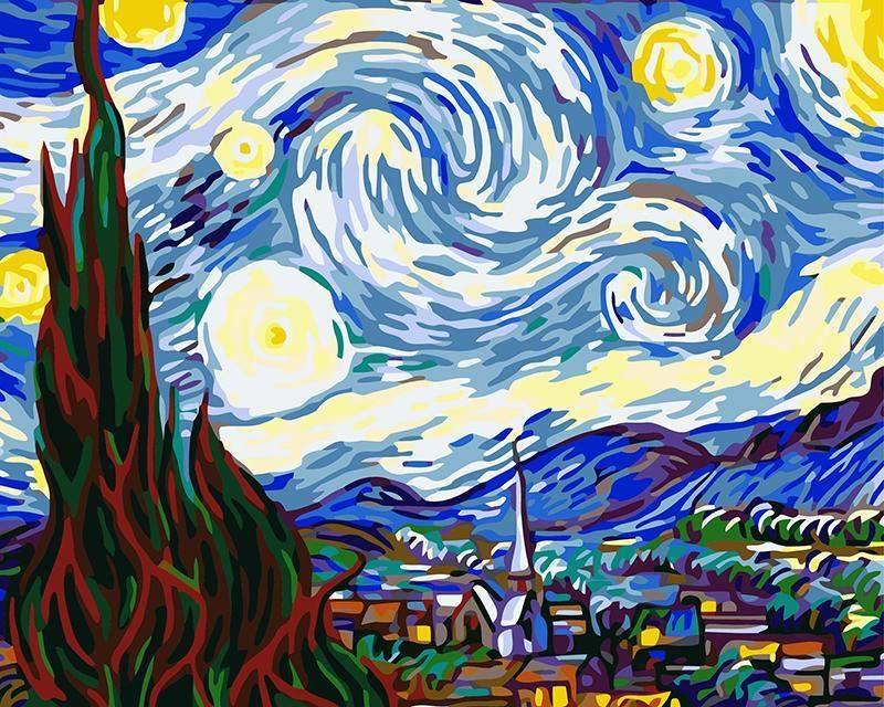 The Starry Night - Van-Go Paint-by-Number Kit-Shark Find