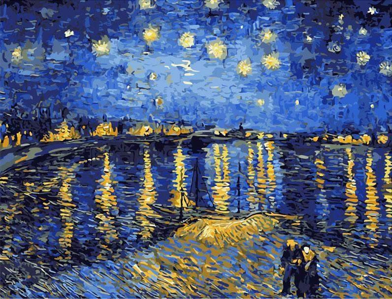 Starry Night Sky Rhone River - Van-Go Paint-By-Number Kit-Shark Find