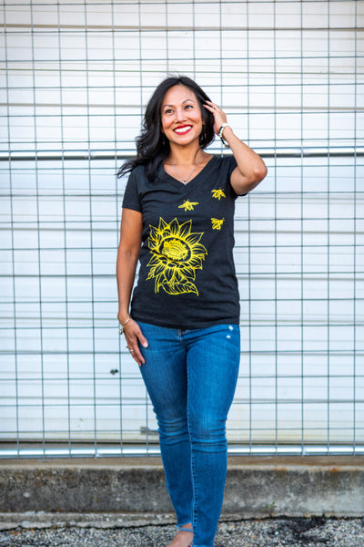 Sunflower & Honey Bees Women's T-shirt. This will be your new favorite shirt! Dramatic yet simple make this tee easy to love. Soft, modern and original.  Buttery soft triblend material, preshrunk, form fitted v-neck.  Sale on Red option, only a few sizes left.  FREE package of wildflower seeds with your order. We want to help provide nectar, pollen and shelter to our beloved pollinators.  We Love Bees!!