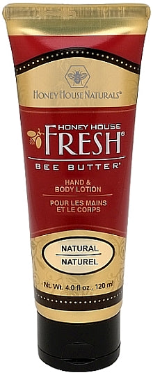 "Bee Butter Lotion Tube. Bee kind to your skin all over with this lotion of indulgent creamy Bee Butter. A little goes a long way! Precious Honey, Beeswax and Royal Jelly, the ""nectar of youth"" for the Queen Bee, naturally retains moisture in thirsty skin cells. As you massage it into your own royal skin, you will sense the restorative, soothing influence of all things natural. Indulge. Enjoy. Indulge again! 4 ounces of indulgence in Honey, Vanilla, and Natural."