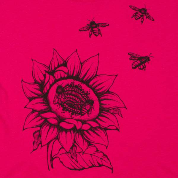 Sunflower & Honey Bees Women's T-shirt. Brighten your day with your new favorite shirt. Soft, modern and original.  Triblend material in shocking pink, flowers and bees in black ink. Preshrunk, true to size dolman.  FREE package of wildflower seeds with your order. We want to help provide nectar, pollen and shelter to our beloved pollinators.  We Love Bees!!