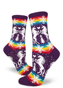 Unicorns & Rainbows Socks. What's not to love here?? Everybody can rock hearts and unicorns. These are just the socks you need to hit the Spring fests.  Fits women's shoe sizes 6 to 10. 65% cotton, 24% nylon, 8% polyester, 3% spandex. Crew fit, Made by MOD socks.