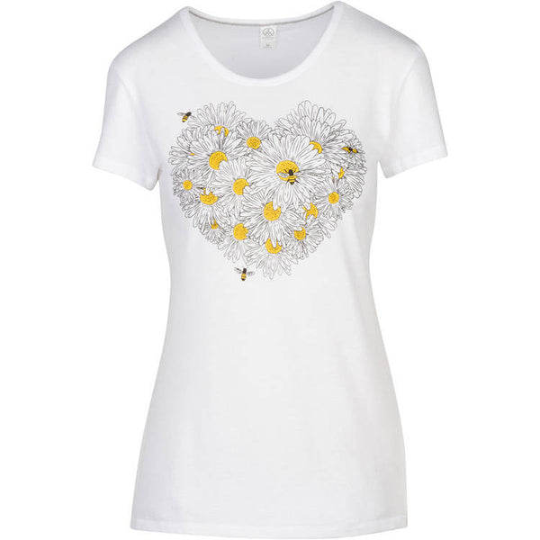 Daisy & Honey Bees Women's T-shirt. This will be your new favorite shirt! Soft, modern and original.  50/50 material in soft white jersey, design in black and gold yellow.  FREE package of wildflower seeds with your order. We want to help provide nectar, pollen and shelter to our beloved pollinators.  We Love Bees!!