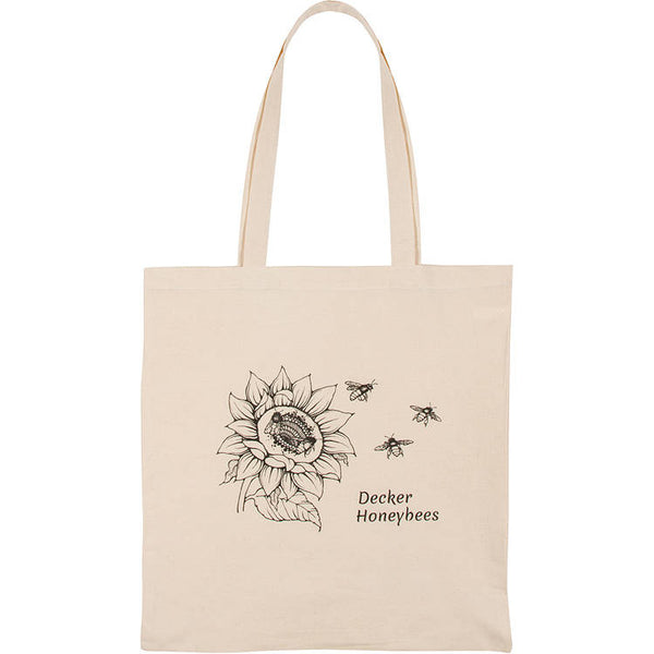 "Sunflower Tote. These premium cotton reusable totes are great for everyday use, trips to the gym, market, carrying water bottles or kid snacks.    100% Natural Cotton Fiber 14.5W x 16H in. 27"" reinforced straps  Hand wash only/Printed on one side Easy on the environment!"