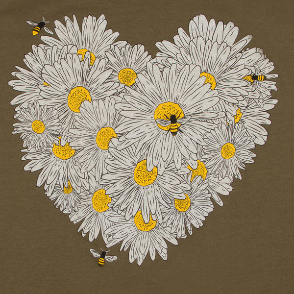Daisy & Honey Bees Women's Tank. Designed by a beekeeper for nature lovers! Stay comfortable and beautiful throughout your bee-zzz day.  Soft cotton/poly blend, true to size racerback, tear-away label.   FREE package of wildflower pollinator seeds with your purchase.