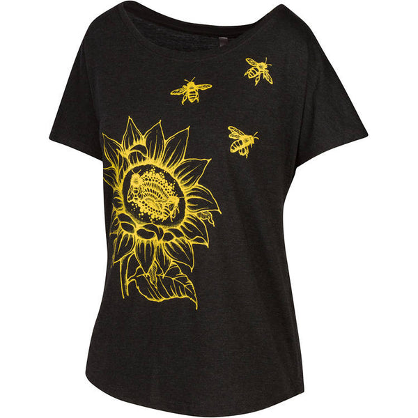 Sunflower & Honey Bees Women's T-shirt. Start wearing your new favorite shirt now. Soft, modern and original.   Super soft triblend material in vintage black, flower and bees printed in gold yellow.  Preshrunk, true to size dolman.  FREE package of wildflower seeds with your order. Help provide nectar, pollen and shelter to our beloved pollinators.  We Love Bees!!