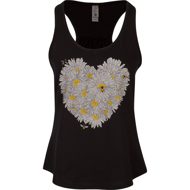 Daisy & Honey Bees Women's Tank. This flattering shirt has a pleated back but maintains a sporty look. Stay comfortable and beautiful throughout your bee-zzz day.  Soft cotton/poly blend in black with the design printed in white, gold and black ink. True to size racerback, tear-away label.   FREE package of wildflower seeds with your order.  We Love Bees!!