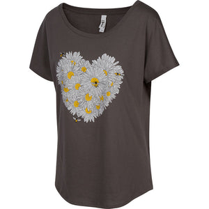 Daisy & Honey Bees Women's T-shirt. A great style that drapes well, has room to move but stays flattering to all figures. This features our love of daisies and bees with a modern look and feel.   Soft cotton/poly blend, laundered, tearaway label, true to size dolman.   FREE package of wildflower seeds with your order.  We Love Bees!!