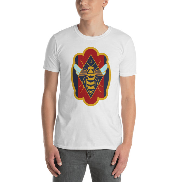 Decker Honeybees Logo T-Shirt Unisex. Great for those that like a traditional t-shirt style. This awesome design is all about the bee. Make a statement while staying comfortable in breathable soft cotton.  100% ringspun cotton, pre-shrunk, true to size.