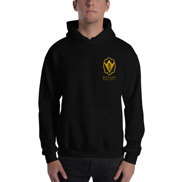 Bee Logo Hoodie. Everyone needs a go-to, cozy sweatshirt to curl up in, so go for one that's soft, smooth, and stylish. It's also perfect for cooler evenings! 50% cotton/50% polyester. Reduced pilling and softer air-jet spun yarn. Double-lined hood. 1x1 athletic rib knit cuffs and waistband with spandex. Double-needle stitching throughout. Front pouch pocket.