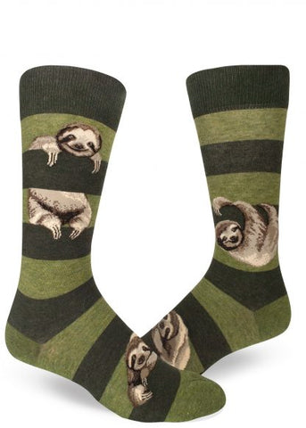 Men's Sloth Socks. Who doesn't love sloths? Treat yourself or your man to these hip statement socks. This sloth design is the perfect accent to every mans wardrobe.  Fits men's shoe sizes 8 to 13. 65% cotton, 24% nylon, 8% polyester, 3% spandex. Crew fit, heather peat.